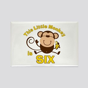 Little Monkey 6th Birthday Boy Rectangle Magnet