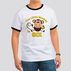 Little Monkey 6th Birthday Boy Ringer T