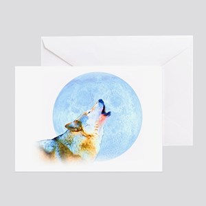 Howling Moon - Wolf Art Greeting Card