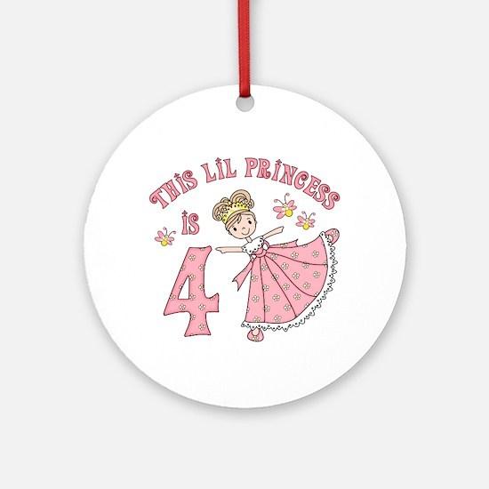 Pretty Princess 4th Birthday Ornament (Round)