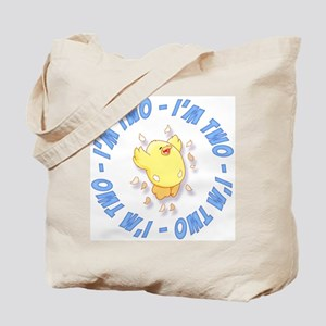 Happy Chick 2nd Birthday Blue Tote Bag
