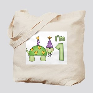 Little Turtle First Birthday Tote Bag