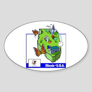 Illinois Map Oval Sticker