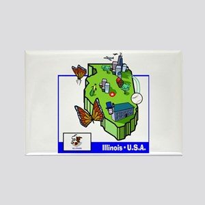 Illinois Map Rectangle Magnet