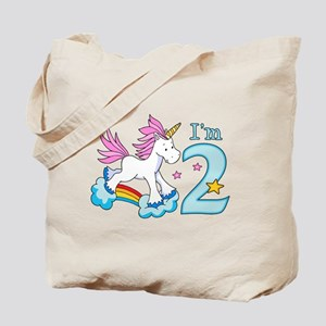 Rainbow Unicorn 2nd Birthday Tote Bag