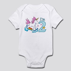 Rainbow Unicorn 2nd Birthday Infant Bodysuit