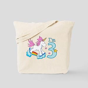 Rainbow Unicorn 3rd Birthday Tote Bag