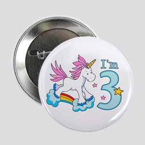 "Rainbow Unicorn 3rd Birthday 2.25"" Button"