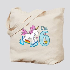Rainbow Unicorn 6th Birthday Tote Bag