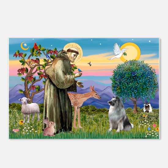 St Francis / Keeshond (#2) Postcards (Package of 8