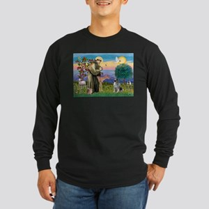 St Francis / Keeshond (#2) Long Sleeve Dark T-Shir