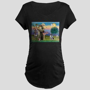 St Francis / Keeshond (#2) Maternity Dark T-Shirt