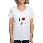 I Heart To Fart Women's V-Neck T-Shirt