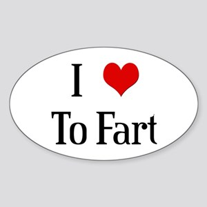 I Heart To Fart Oval Sticker