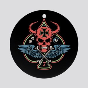Lucky Winged Maltese Skull Ornament (Round)