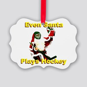 Even Santa Plays Hockey Picture Ornament