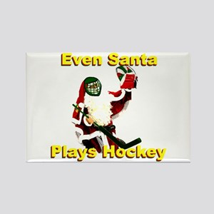 Even Santa Plays Hockey Rectangle Magnet