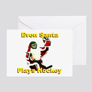 Even Santa Plays Hockey Greeting Card