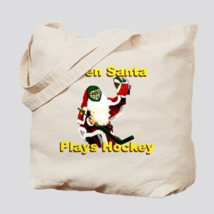 Even Santa Plays Hockey Tote Bag