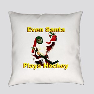 Even Santa Plays Hockey Everyday Pillow