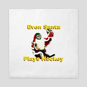 Even Santa Plays Hockey Queen Duvet