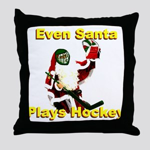 Even Santa Plays Hockey Throw Pillow