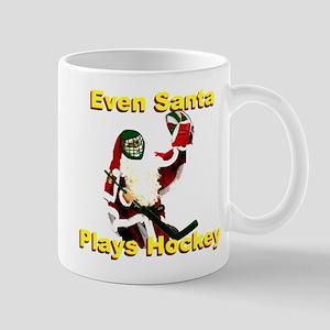 Even Santa Plays Hockey 11 oz Ceramic Mug