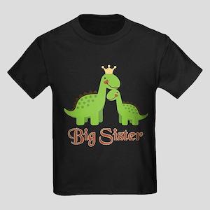 Big Sister Dino Kids Dark T-Shirt