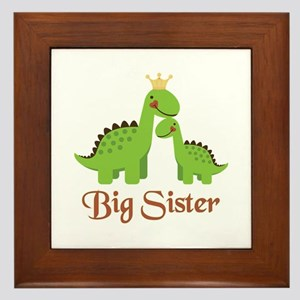 Big Sister Dino Framed Tile