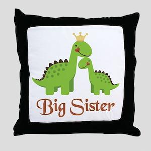 Big Sister Dino Throw Pillow