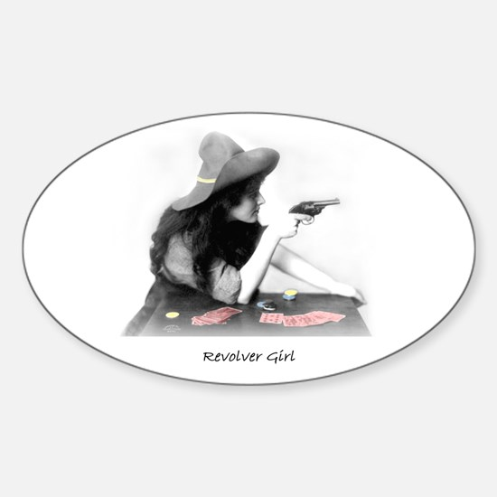 Revolver Girl Oval Decal