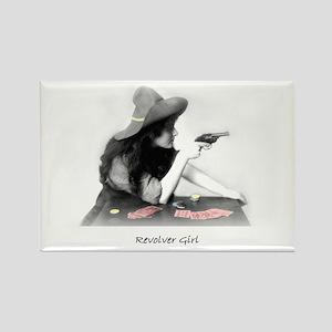 Revolver Girl Rectangle Magnet