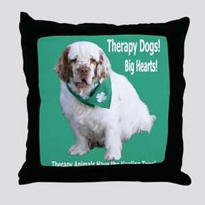 """Therapy Dogs! Big Hearts!"" Throw Pillow"
