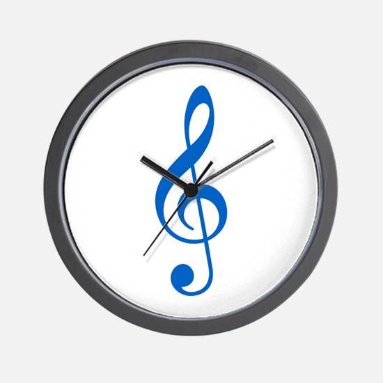 Blue Clef Wall Clock