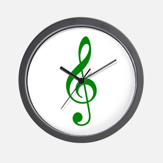 Green Clef Wall Clock