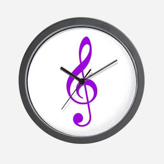 Purple Clef Wall Clock