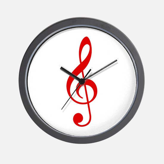 Red Clef Wall Clock