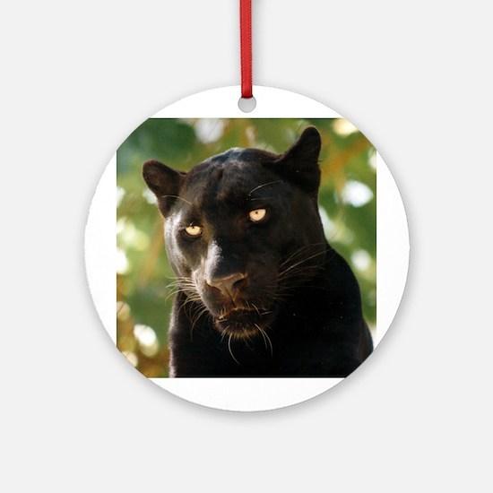 Black Leopard Ornament (Round)