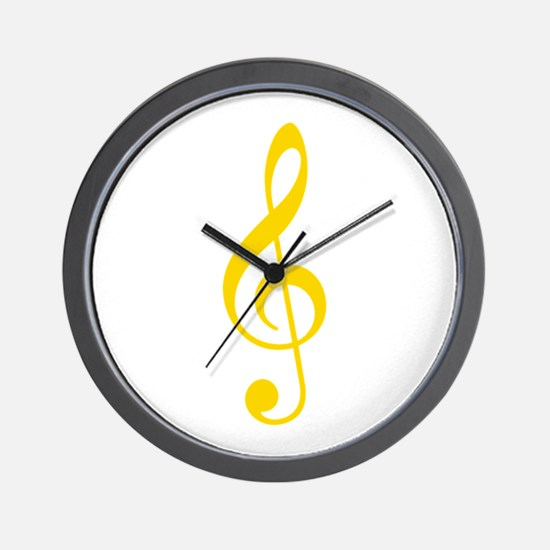 Yellow Clef Wall Clock