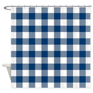 Plaid Blue And White Shower Curtains