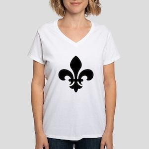 Black Fleur-de-Lys Women's V-Neck T-Shirt