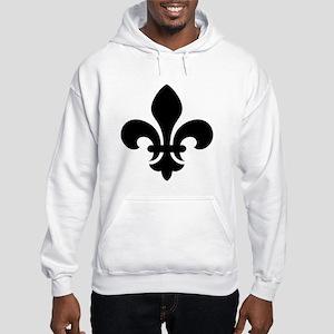Black Fleur-de-Lys Hooded Sweatshirt