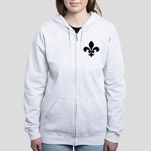 Black Fleur-de-Lys Women's Zip Hoodie