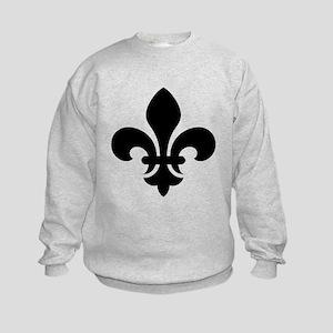 Black Fleur-de-Lys Kids Sweatshirt