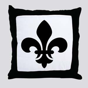 Black Fleur-de-Lys Throw Pillow