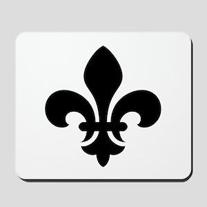 Black Fleur-de-Lys Mousepad