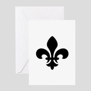 Black Fleur-de-Lys Greeting Card