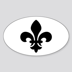 Black Fleur-de-Lys Oval Sticker