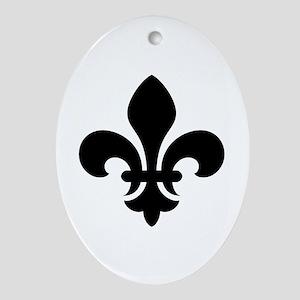 Black Fleur-de-Lys Oval Ornament