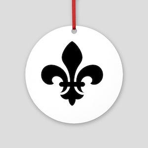Black Fleur-de-Lys Ornament (Round)